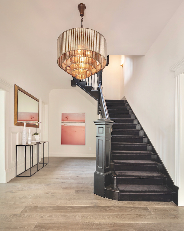 Feng Shui design for Pacific Heights stairway and chandelier