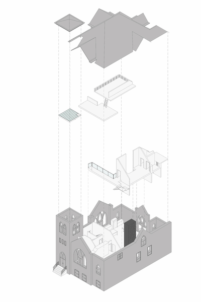 Cut away schematic rendering of church remodeled into a home