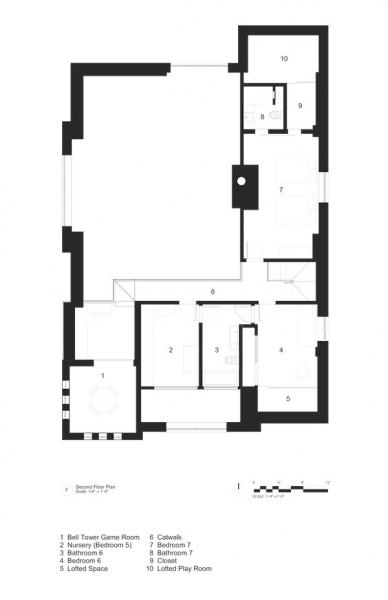 2nd story floor plan of church remodeled into home
