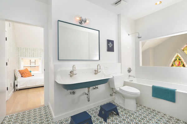 Full bath with Jack and Jill sink, blue texture and patterned tile