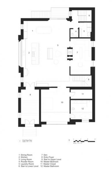 First floor floor plan of church remodeled into a home