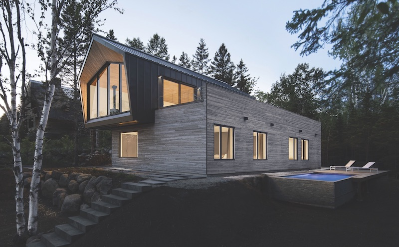 Vacation home with unfinished cedar exterior