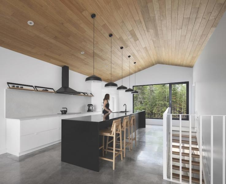 Kitchen with wood clad ceiling