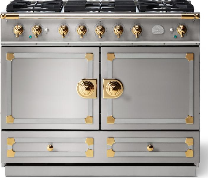 1 Lacornue cornufe 110 dual fuel range stainless steel with stainless steel polished brass trim