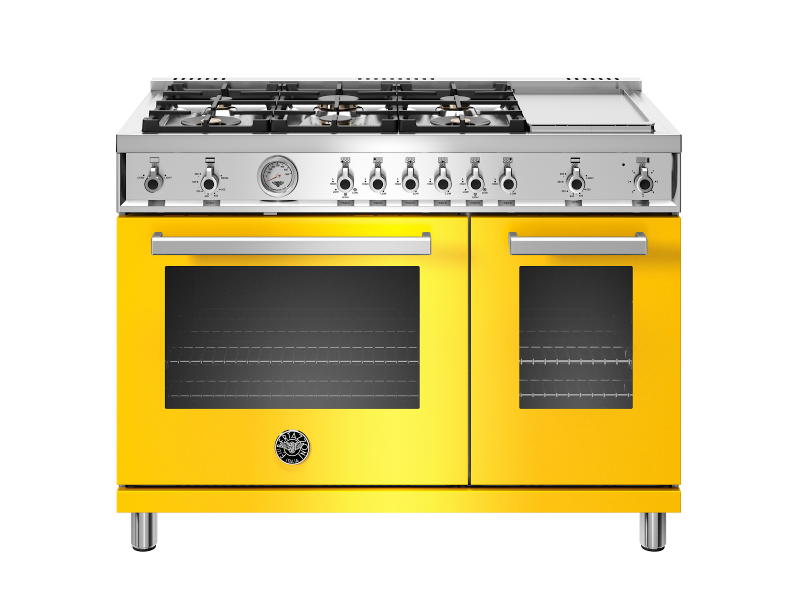Yellow Bertazzoni stove top and oven
