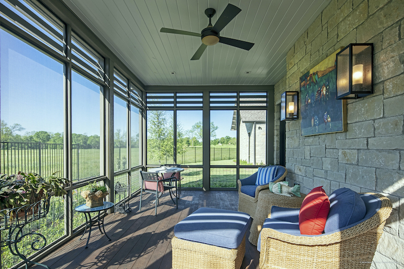 Enclosed outdoor living space of Texas custom home