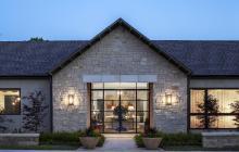 Stone exterior of Texas breezeway for custom home