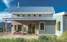 Colorado custom home with custom painted window on fiber cement exterior
