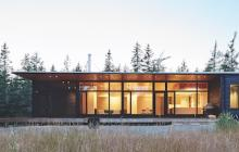 Exterior of minimalist wood-themed custom home in Nova Scotia