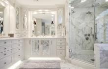 Spa-styled bath with Calacatta marble