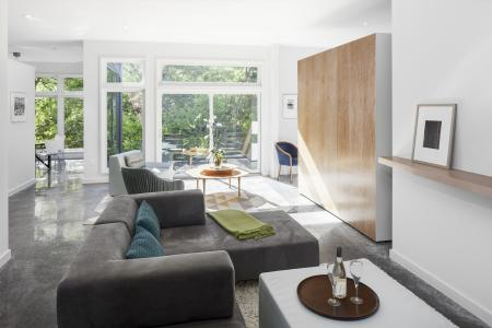 Moveable wall separates the study from the living space