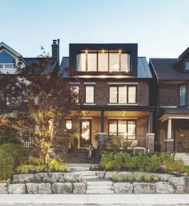 Exterior of remodeled century-old brick home