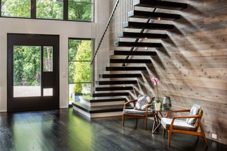 Floating stairway near front entry