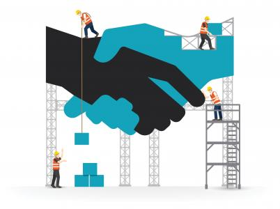 Graphic of handshake amid scaffolding on construction site