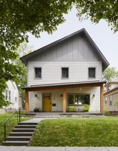 Front of Minneapolis house infill project sloped offset roof