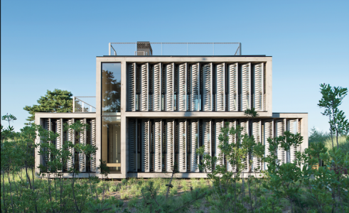 Seaside house with louver system